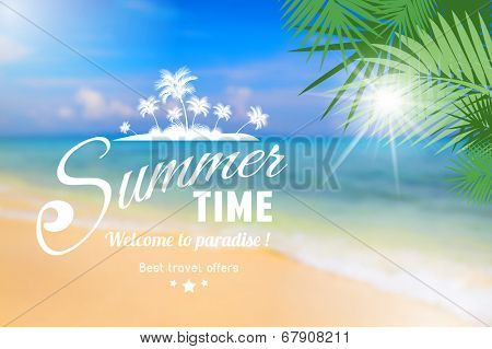 Summer seaside view poster with type on defocused beach background. Vintage vector illustration.