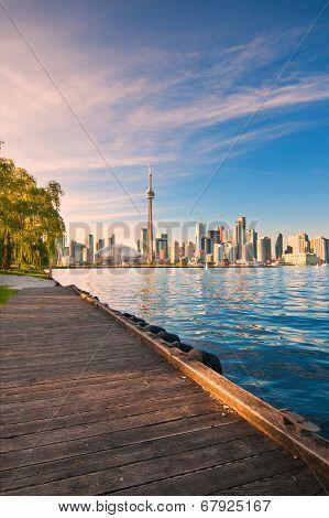 Toronto Skyline Over Ontario Lake