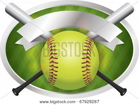 Softball And Bat Emblem Banner Illustration