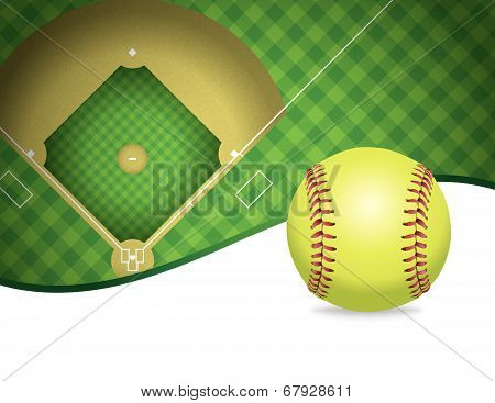 Softball And Field Copyspace Illustration