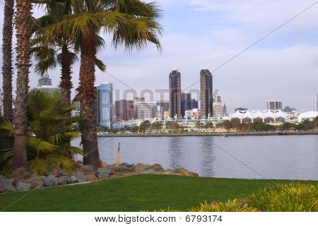 San Diego skyline as seen from Coronado island park. poster