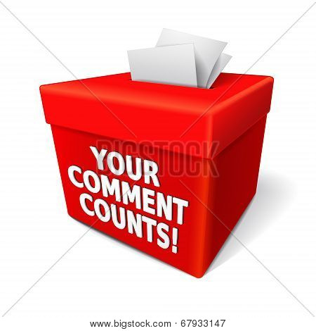 Your Comment Counts Words On The Red Box