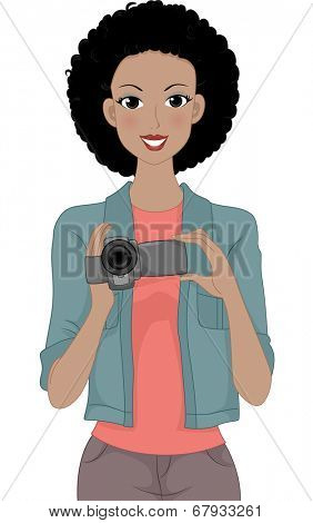 Illustration of a Girl Holding a Video Camera
