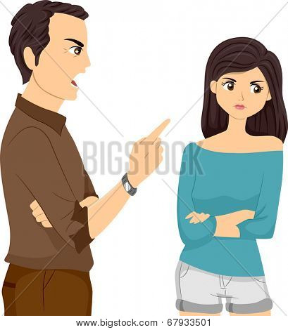 Illustration of a Father Scolding His Daughter