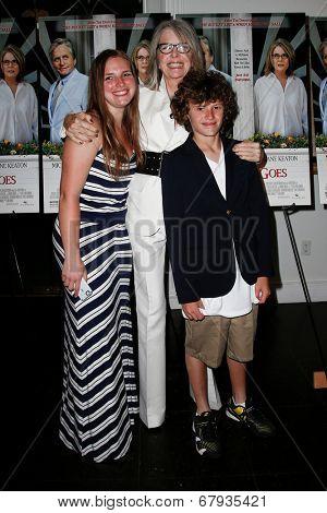 EAST HAMPTON, NEW YORK-JULY 6: (L-R) Dexter Keaton, Diane Keaton and Duke Keaton attend the premiere of