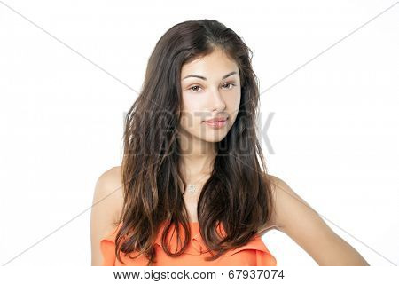 Portrait of a brunette without makeup isolated on white