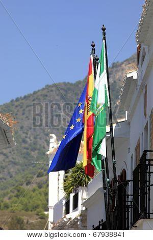 Flags outside Frigiliana Town Hall