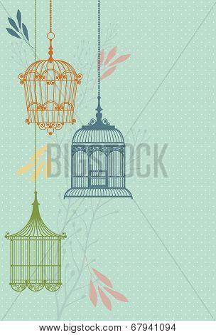 invitation card with vintage birdcage