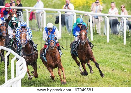 Jockeys Into The Second Curve At The Nationaldags Galoppen In Gardet