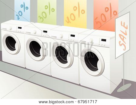 Sellout Of Washing Machine In Shop, Vector