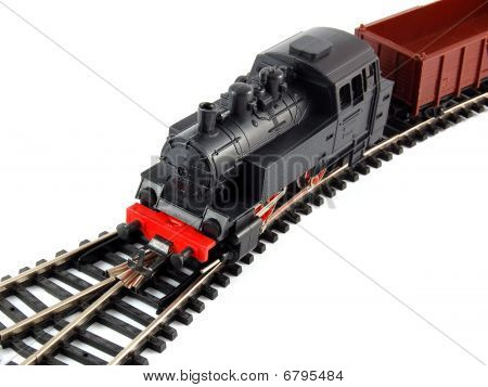 Toy Steam Train and freight wagon