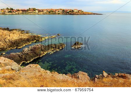 Ancient City On A Rocky Shore Near Sea
