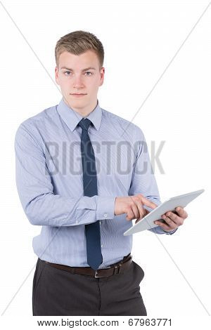 Young Man Is Holding A Tablet