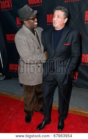 NEW YORK-MAR 13: Actors Wesley Snipes (L) and Sylvester Stallone attend the 'Rocky' Broadway opening night at the Winter Garden Theatre on March 13, 2014 in New York City.