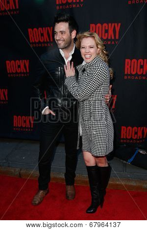 NEW YORK-MAR 13: Actors Colin Donnell (L) and Patti Murin attend the 'Rocky' Broadway opening night at the Winter Garden Theatre on March 13, 2014 in New York City.