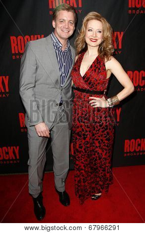 NEW YORK-MAR 13: Actors Chris Henry Coffey (L) and wife Jennifer Mudge attend the 'Rocky' Broadway opening night after party at Roseland Ballroom on March 13, 2014 in New York City.