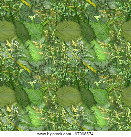Camouflage Seamless Background With Natural Foliage