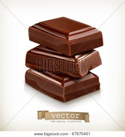 Chocolate pieces, vector illustration