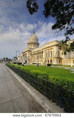 HAVANA, CUBA - JULY 9, 2010. View of El Capitolio, or National Capitol Building, the seat of cuban government until 1959, now the home to the Cuban Academy of Sciences.