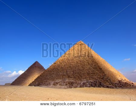 Two pyramids of Giza, Egypt