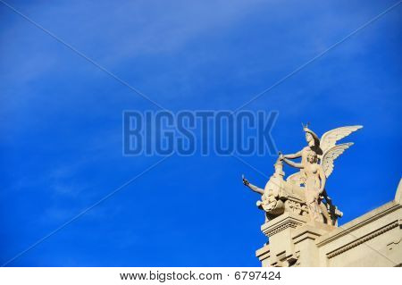 Human Winged Figures With Locomotive