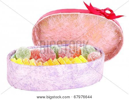 Testy jelly candies in present box isolated on white
