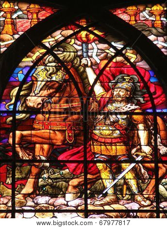 PARIS, FRANCE - NOV 09,2012:Second Apocalyptic horsemen,stained glass.Church of Saint-Jean-de-Montmartre situated at the foot of Montmartre.Built from 1894 through 1904., Nov 09, 2012 in Paris,France.