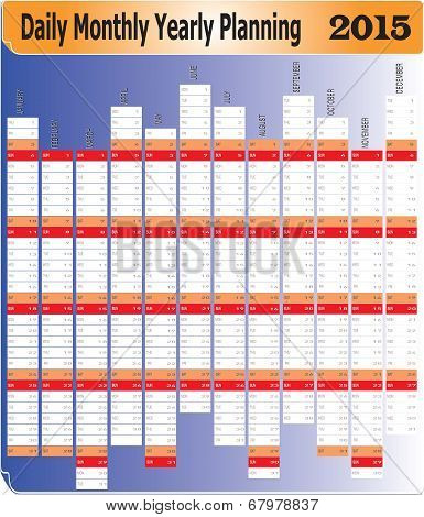 Daily Monthly Yearly 2015 Planning Chart