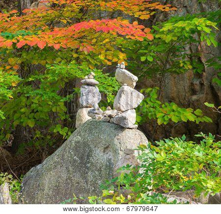 Stone pyramids at Sinheungsa Temple at the Seorak-san National Park, South korea