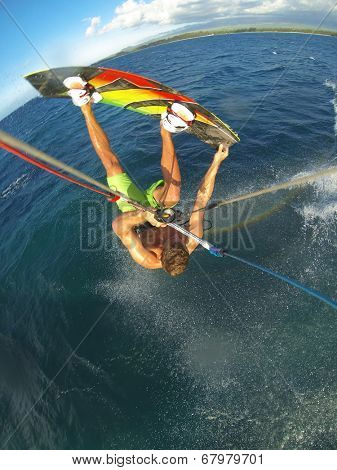 Kiteboarding, Fun in the Ocean, Extreme Sport. Action Camera POV angle with motion blur.