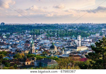 Lviv old city evening view