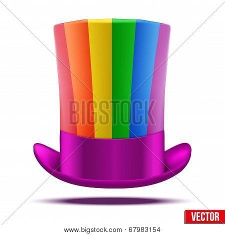 Striped of rainbow big gentleman hat cylinder