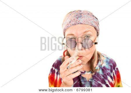 Senior Hippie Lady Smoking