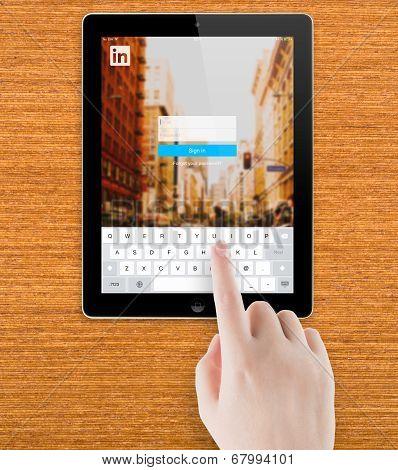 LinkedIn Login page on Apple iPad screen