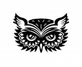 Black and white wise old horned owl head with big eyes and feather for mascot or tattoo design poster