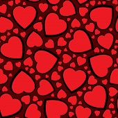 Valentine's day abstract seamless background with red hearts. Vector illustration. poster