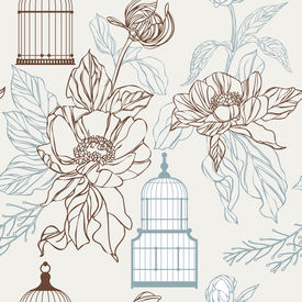 Vintage birds and birdcages collection. Pattern