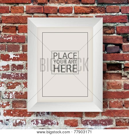 White Wooden Frame on Red Brick Wall