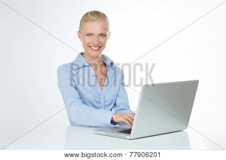 Closeup Of Smiling Woman On White Background