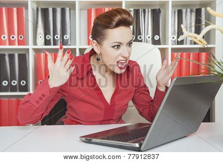 Angry Screaming Business Woman Working With Compute
