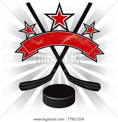 Ice hockey red and black emblem vector