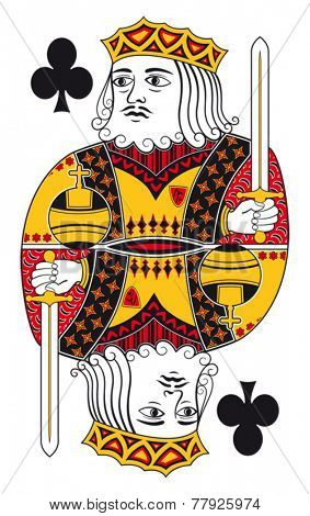 King of clubs without playing card background