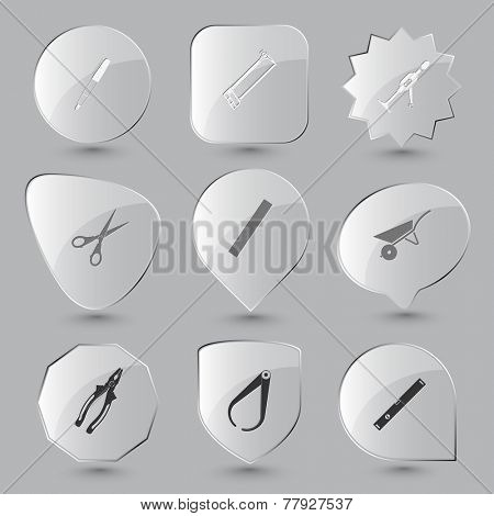 Angularly set. Vector glass buttons.