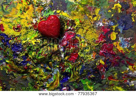 Red Love Heart On Colorful Palette
