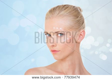 Blond Woman Testing Salve On Her Face