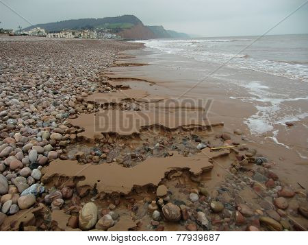 Beach stones and sand erosion seascape photographed at Sidmouth in Devon poster