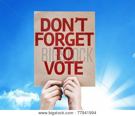 Don't Forget to Vote card with sky background