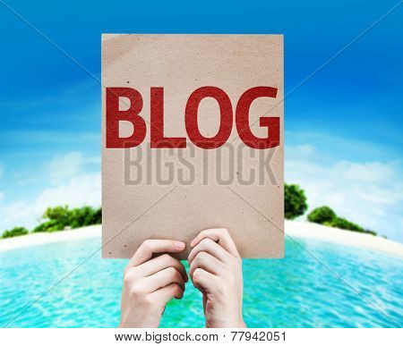Blog card with a beach on background