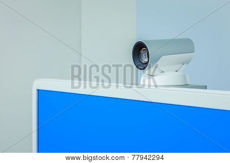 Teleconference, Video Conference Or Telepresence Camera With Blue Screen Display