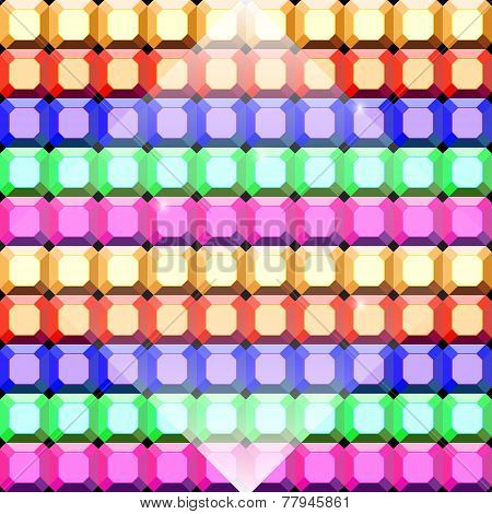 Colorful Gem Stone Square Cut Pattern Background